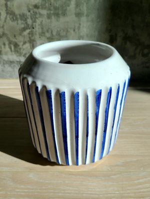 Cute plant pot with blue stripes for Sale in Los Angeles, CA