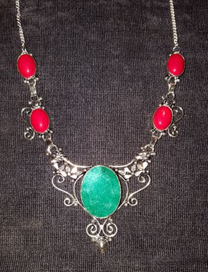 Gorgeous Emerald and Red Coral Gemstone Necklace for Sale in Newport, TN