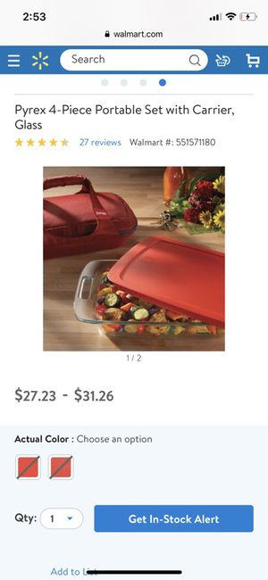 Pyrex portable casserole carrier with glass Pyrex with lid included for Sale in Alexandria, LA