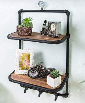 2 Tier industrial style wood and metal wall mounted shelves with 3 hook faucet designDimensions (in inch): 31.75 H x 17.75 W x 9.75 D. for Sale in Ontario, CA