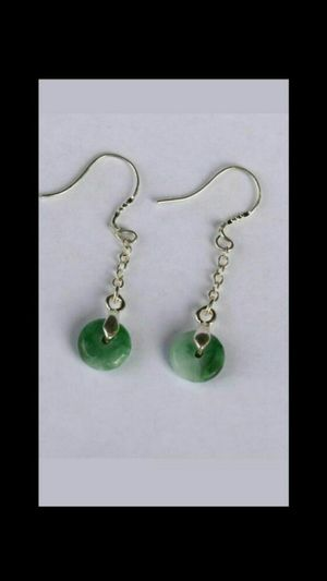 925 Silver Cert'd Untreated Green A jade Jadeite Earring Peace buckle for Sale in Richmond, CA