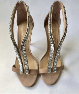 SCHUTZ SHOES OPEN TOE HEELS, STUDDED! SIZE 8. NUDE BLUSH PINK! for Sale in Beverly Hills, CA