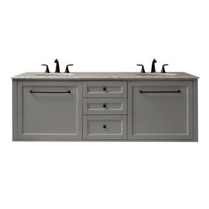 Home Decorators Collection Hamilton 68 in. W Wall Hung Double Vanity in Grey with Granite Vanity Top in Grey with White Sink for Sale in Dallas, TX