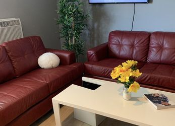 Red Leather Sofas Set Of 2 for Sale in Chino Hills,  CA