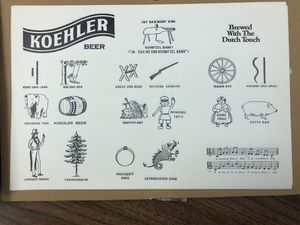 Koehler Beer restaurant place mat for Sale in Erie, PA