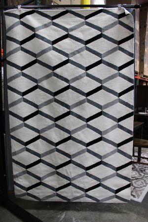 Sigrun Geometric Chevron 5 x 8 Area Rug, White & Black, R-1005A for Sale in Downey, CA