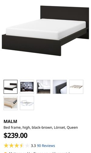 IKEA black Malm (lonset) bed frame for Sale in Long Beach, CA
