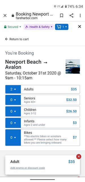Catalina express tickets for Sale in Huntington Beach, CA