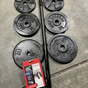 5 Ft Steel Barbell With Quality Weights for Sale in Lake Stevens, WA