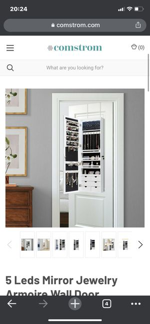 5 LEDs Mirror Jewelry Armoire Wall Door Mounted-White for Sale in La Habra Heights, CA