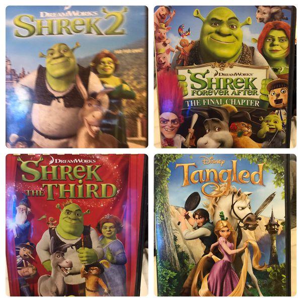 Shrek, Shrek 2, Shrek 3, and Tangled DVD's