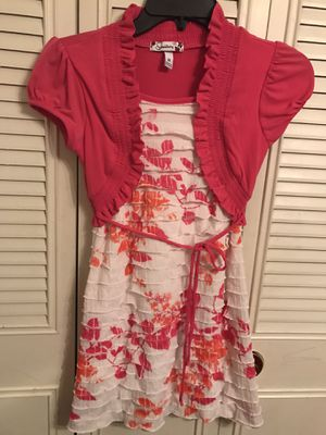 Girls dress, pink and white with flowers size 10 for Sale in Bensalem, PA