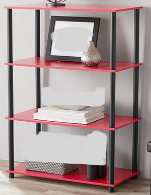 New!!4 Shelf Unit,Storage Organizer,Bookcase-Red for Sale in Phoenix, AZ