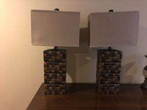 Two multi color brown, gold pattern lamps. Like NEW! for Sale in Granville, OH