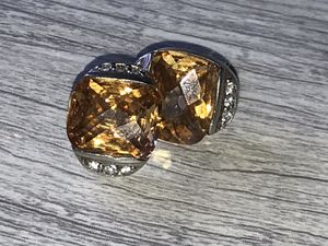 Citrine and diamond earrings on 925 silver for Sale in Smyrna, GA
