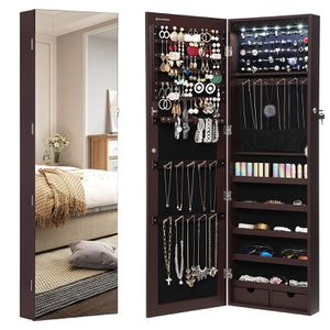 6 Led Light Full Screen Mirrored Jewelry Cabinet Armoire, 6 LEDs Jewelry Organizer Wall Hanging/Door Mounted, Larger Capacity, Dark Brown for Sale in City of Industry, CA