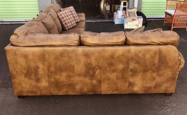 Leather and twead sectional