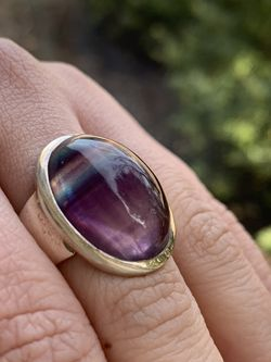 $Sterling silver Fluorite ring. New with Tags Sz 7.25 10.2gr Easy contactless pick up near Clark/Montrose Venmo Zelle and exact cash is accepted for Sale in Chicago,  IL