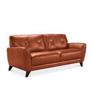 Terra-cotta leather sofa for Sale in Detroit, MI