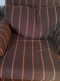 2 Brown With Orange Strip Love Seats for Sale in Kirkland,  WA