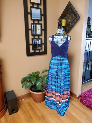 BETHANY~ BLUE, CORAL, AND WHITE MAXI DRESS! for Sale in Taunton, MA