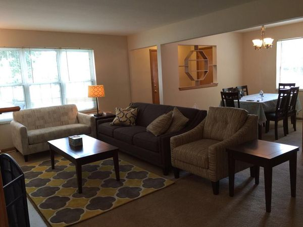 Couches, coffee table, two side tables, pillows, rug and lamp