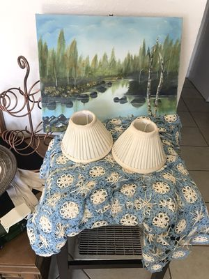 Pair of vintage off white table lamp shades for Sale in Fresno, CA