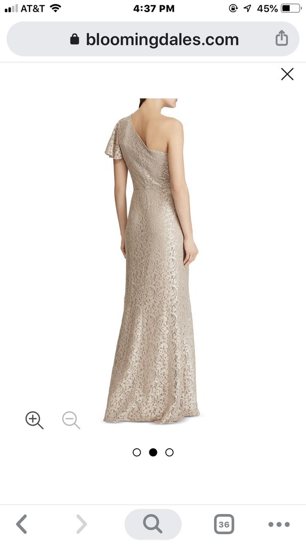 Luxurious off shoulder gown .color : gold .size :4 .wore just once for wedding.condition:like new.