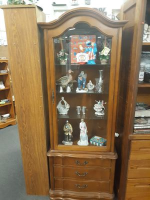 Fresh Provincial Curio cabinet, extremely rare! 3 dovetailed drawers/front entry..26x14x77 tall for Sale in Joliet, IL