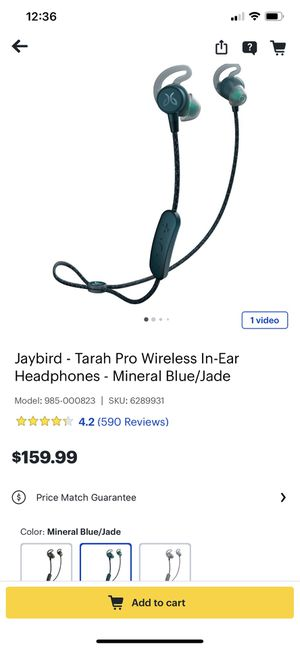 Jaybird - Tarah Pro Wireless In-Ear Headphones Mineral Blue/Jade-Condition is brand New Model:985-000823 for Sale in San Antonio, TX