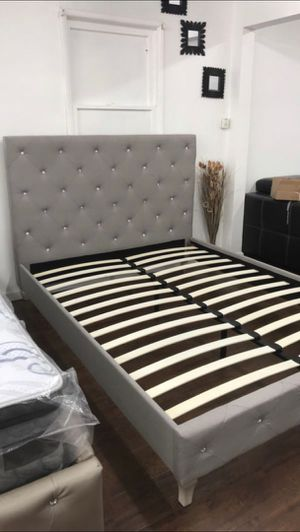 Queen Size Bed Frame, Silver Wood Finish Grey Polyfiber for Sale in Santa Ana, CA
