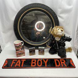 Harley Davidson Memorabilia Bundle (metal Sign, Tire Mirror, Stuffed Lion, Trading Cards, 90s NOS Mug) for Sale in Seattle,  WA