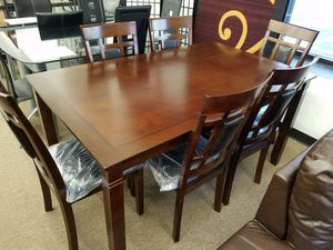 New in box 7 PC dark cherry wood dining table set for Sale in Beltsville, MD