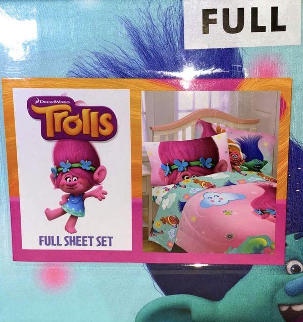 Bundle of Trolls Twin/Full Reversible Comforter Nd Full Sheet Set