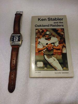 Oakland Raiders Ken Stabler Watch & Paperback Book for Sale in San Jose, CA