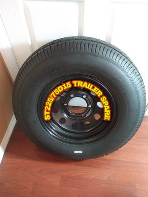 BRAND NEW TRAILER TIRE AND RIM ST 225/75D15 6 SLUGS FOR HEAVY DUTY,FOR ANY QUESTION TEXT ME PLEASE. for Sale in Los Angeles, CA