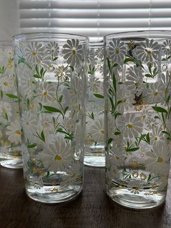 Mid Century Modern Set Of Culver Embossed Daisy Glasses for Sale in San Diego,  CA