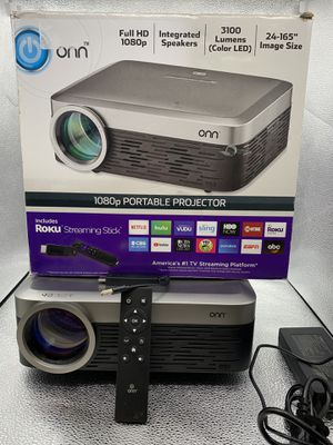 Onn 1080 p Portable Projector includes Roku Streaming Stick #27976-1 for Sale in Chandler, AZ