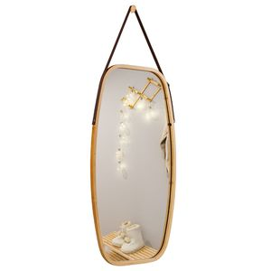 G7-10.......30'' Modern Rectangle Wall Hanging Framed Mirror w/ Faux Leather Strap Bathroom for Sale in City of Industry, CA