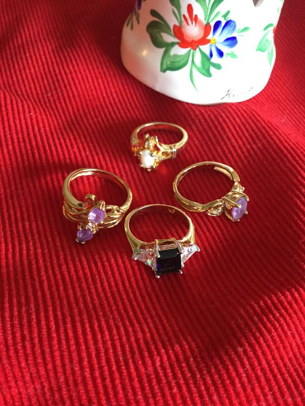 Ring 💍💍💍 Assorted Vermeil Gold rings Size # 5 / Gold over Sterling silver jewelry / beautiful Selection 💍