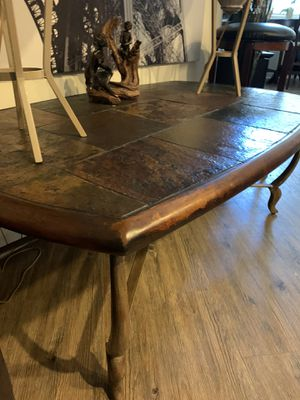 Coffee table & lamp table. Real natural stone, cast iron base for Sale in Ladera Ranch, CA