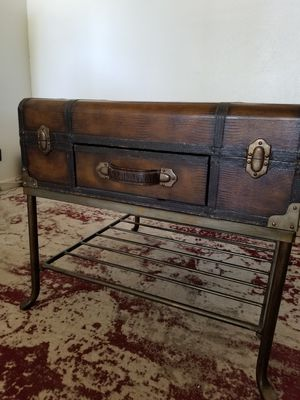 Old leather suitcase end table with metal stand for Sale in Boulder City, NV