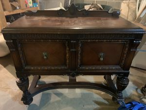 Antique Hutch with hand carved trim and cast iron fixtures for Sale in Manheim, PA