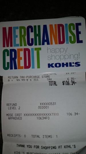 Kohls store merchandise credit for Sale in Waterbury, CT