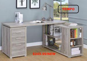 L Shape Office Desk, Grey Driftwood for Sale in Santa Ana, CA
