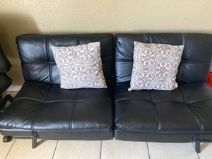 Black leather futon for Sale in Modesto, CA