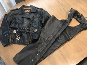 Harley Davidson Riding Jacket and Eagle Chaps (both leather) for Sale in Tigard, OR