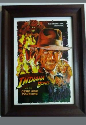 Indiana Bones and the dead who consume Parody Zombie Matt Busch signed poster for Sale in Long Beach, CA
