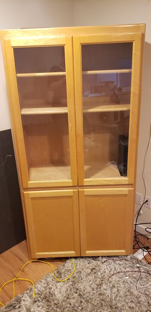 Maple bookcase/armoire/TV cabinet/ 4 adjustable shelves for Sale in Seattle, WA