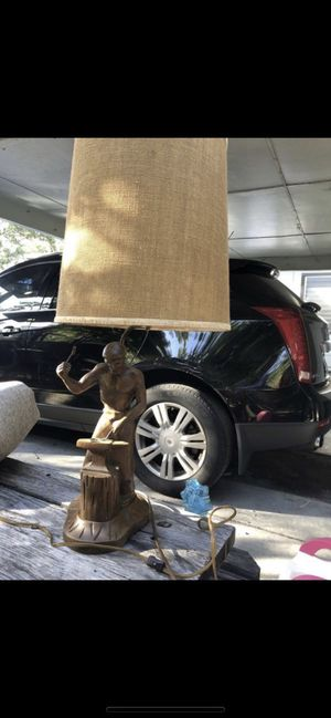 Vintage Carved wood figúral blacksmith lamp $120 obo for Sale in Largo, FL